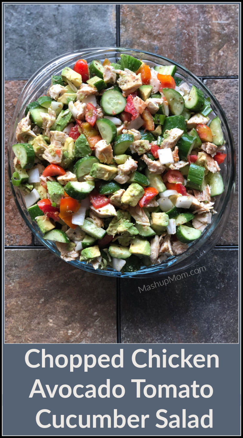 chopped chicken salad with avocado tomatoes and cucumber