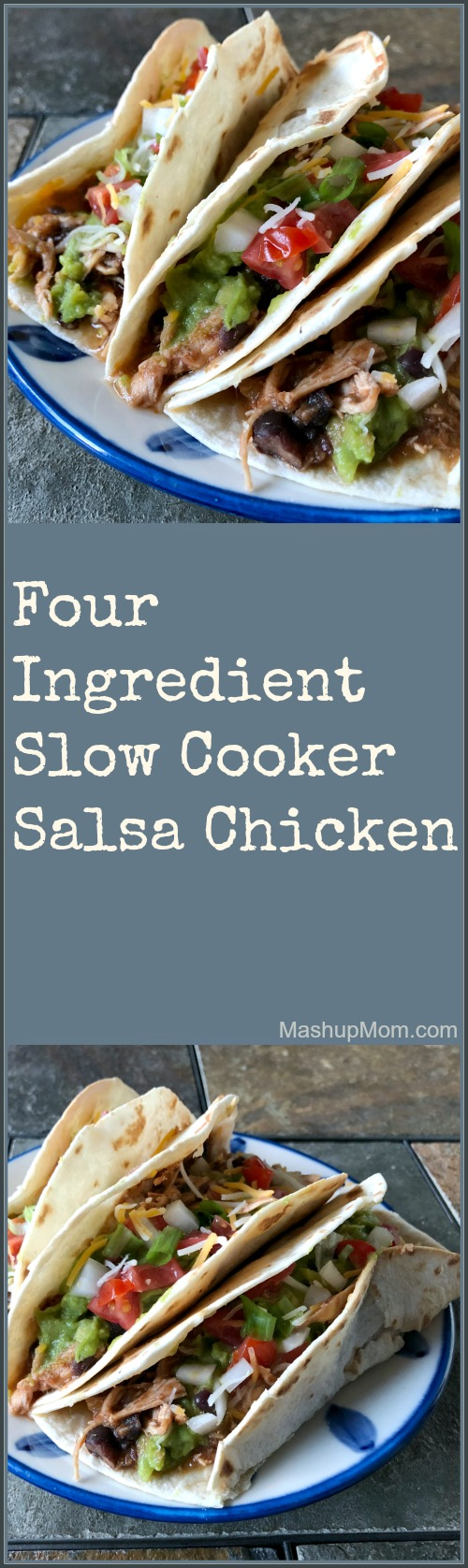 four ingredient slow cooker salsa chicken tacos
