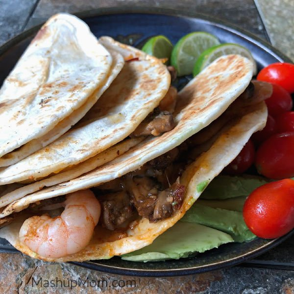 shrimp and mushroom quesadillas