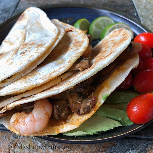 plate of shrimp & mushroom quesadillas