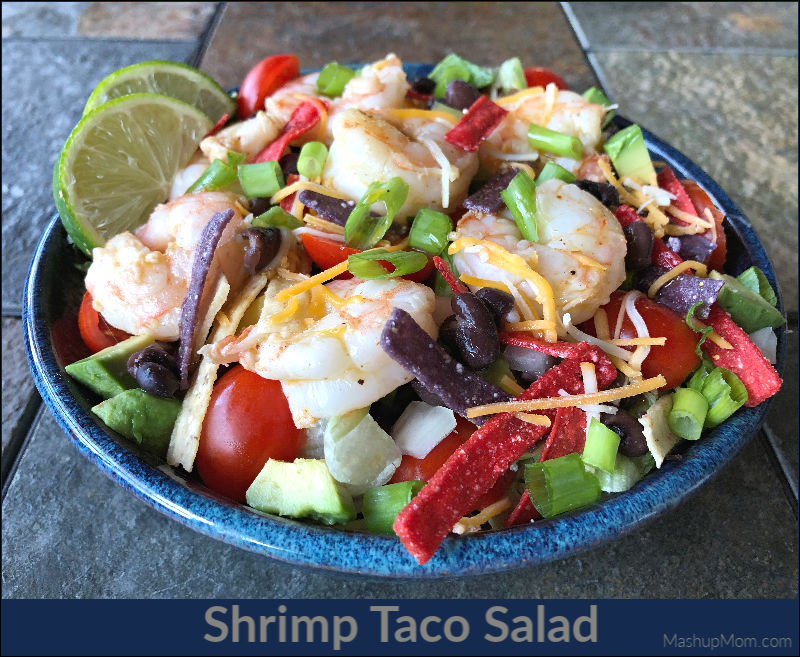 Shrimp taco salad is a hearty & colorful weeknight dinner salad option.
