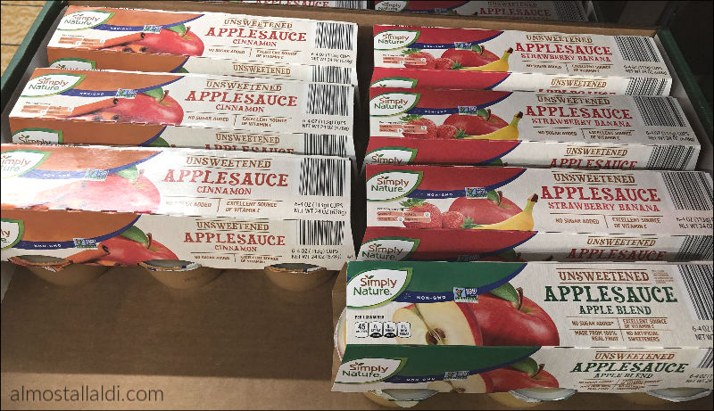 SimplyNature applesauce cups at ALDI