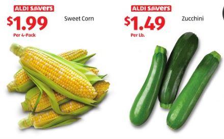 zucchini and corn on sale at ALDI