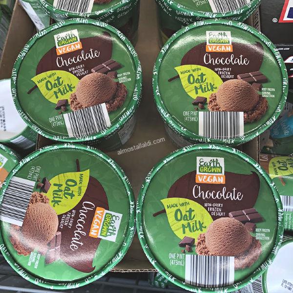 earth grown vegan oat milk ice cream at aldi