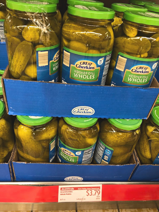 giant jars of pickles at ALDI