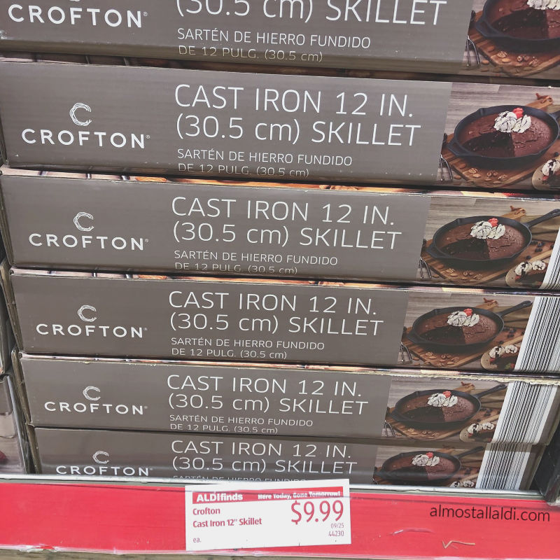 crofton cast iron skillet on the shelf at ALDI