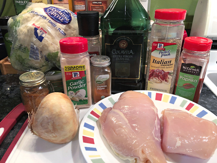 chicken & cauliflower sheet pan dinner ingredients