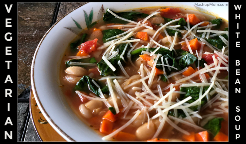 vegetarian white bean soup with Parmesan