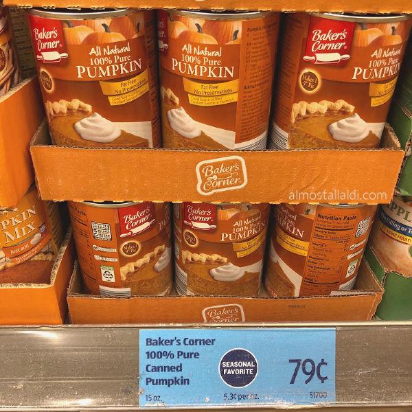 Baker's Corner canned pumpkin at ALDI on the shelf