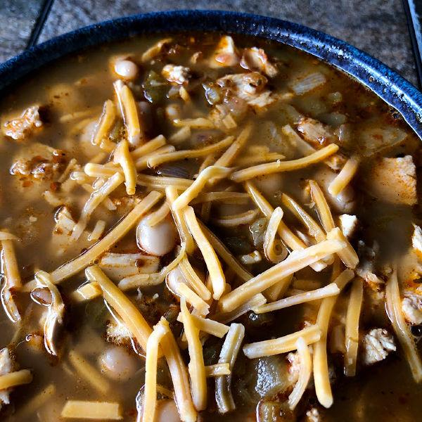 bowl of white turkey chili