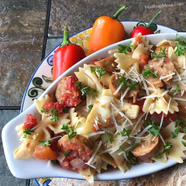 artichoke pasta with chicken sausage