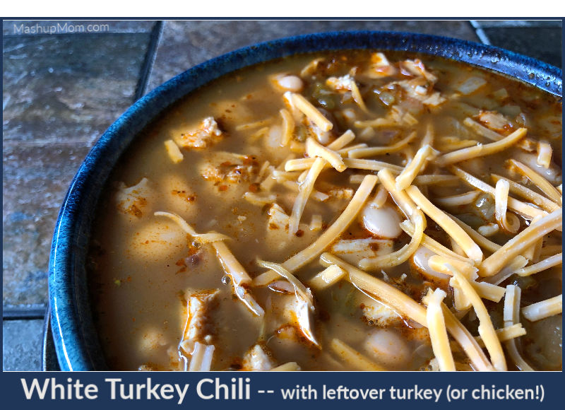 white turkey chili made with leftover turkey