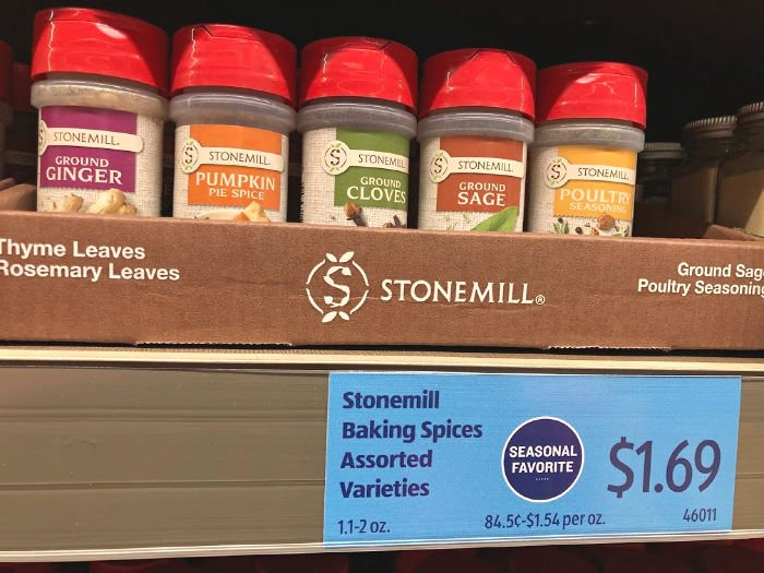 seasonal Stonemill baking spices at ALDI