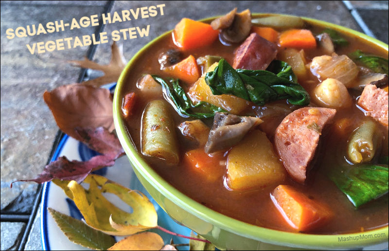 harvest vegetable stew with acorn squash and sausage
