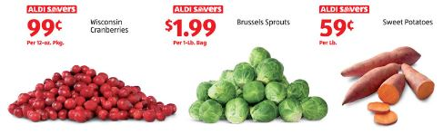 cranberries, brussels, sweet potatoes on sale