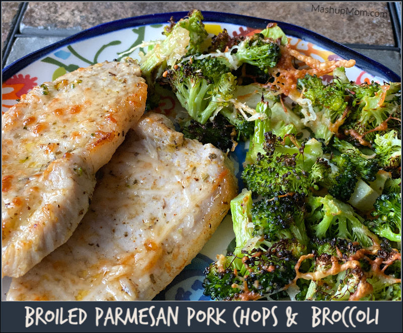 Broiled Parmesan Pork Chops & Broccoli -- an easy 30 minute sheet pan dinner