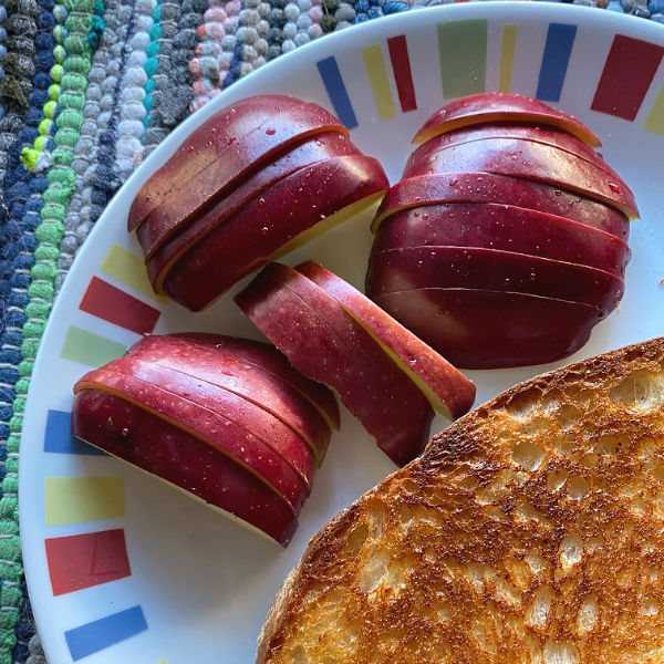 grilled cheese sandwich and apple slices