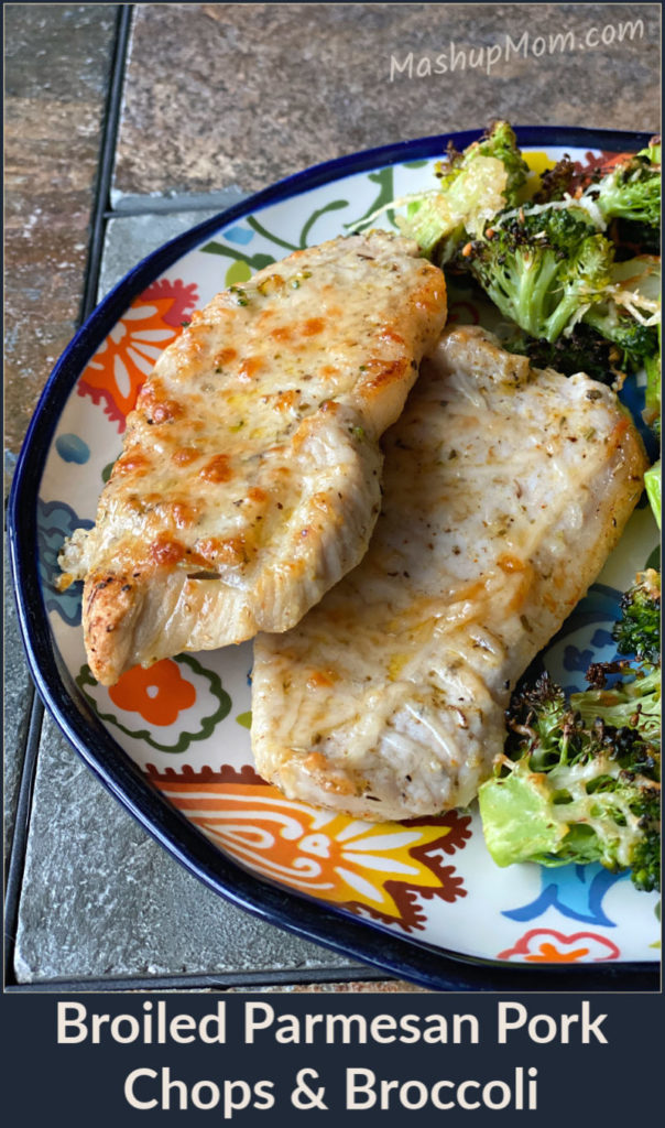 Broiled Parmesan Pork Chops and Broccoli is a super simple, keto friendly, gluten free, 30 minute sheet pan dinner recipe