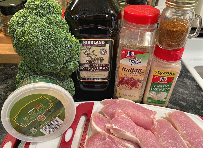 Ingredients for broiled Parmesan pork chops and broccoli