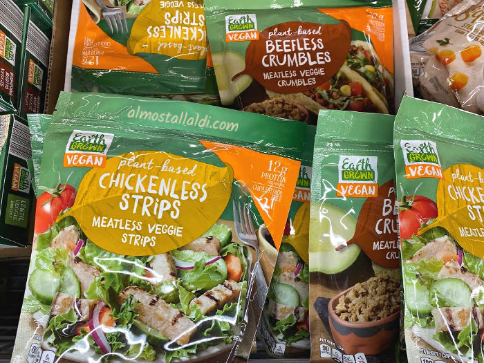 Earth Grown chickenless strips and beefless crumbles at ALDI