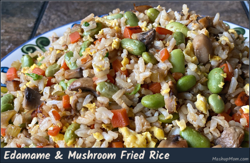 Edamame fried rice with mushrooms, carrots, & egg