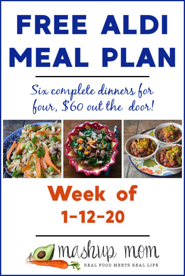 Free ALDI Meal Plan week of 1/12/20 - 1/18/20: Six complete dinners for four, $60 out the door! Save time and money with meal planning, and find new free ALDI meal plans weekly.