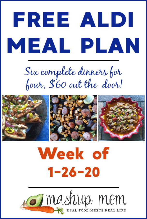 Free ALDI Meal Plan week of 1/26/20 - 2/1/20: Six complete dinners for four, $60 out the door! Save time and money with meal planning, and find new free ALDI meal plans every week.