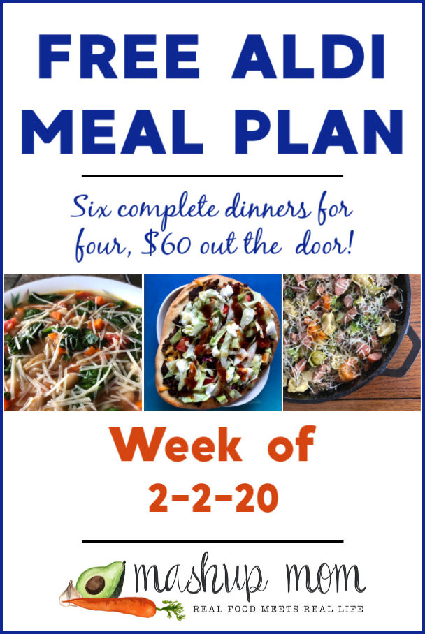 Free ALDI Meal Plan week of 2/2/20 - 2/8/20: Six complete dinners for four, $60 out the door! Save time and money with meal planning, and find new ALDI meal plans each week.