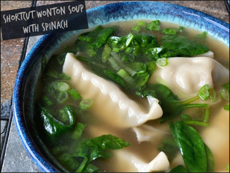 shortcut wonton soup with spinach