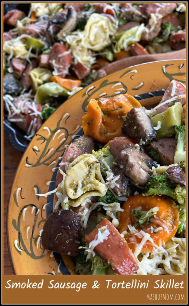 Smoked sausage & tortellini skillet with pesto and Parmesan is an easy 30 minute weeknight dinner recipe.