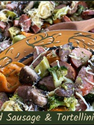 smoked sausage and tortellini skillet with pesto