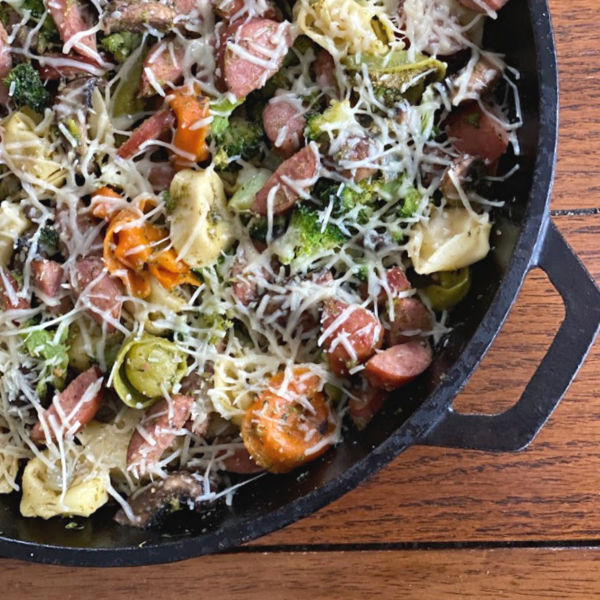 tortellini skillet with pesto and smoked sausage