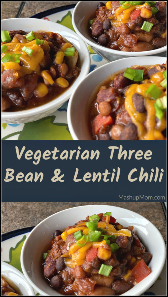 Vegetarian bean & lentil chili in the slow cooker