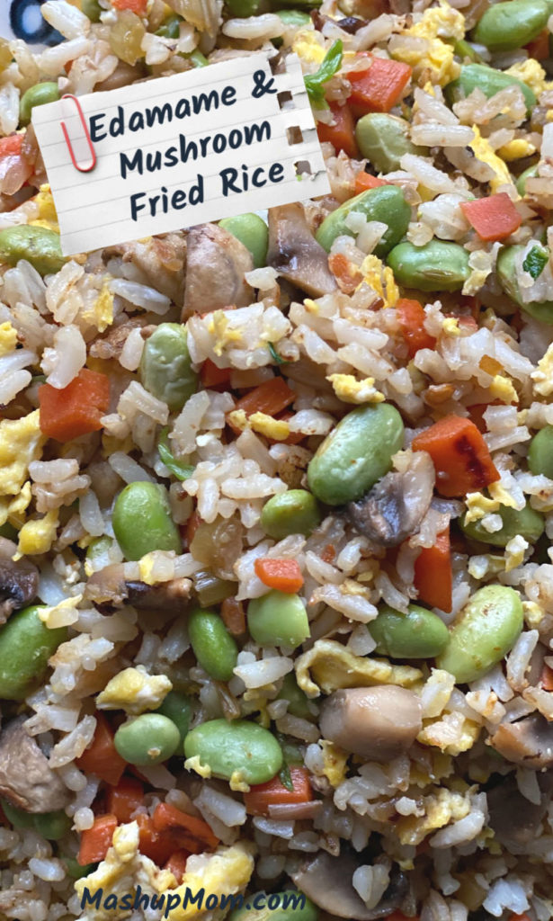 Veggie fried rice with edamame and mushrooms, an easy recipe