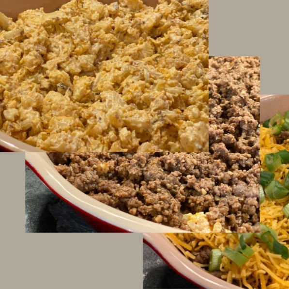 Assembling the low carb taco casserole in layers of cauliflower, ground beef, and cheese