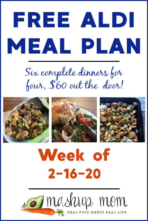 Free ALDI Meal Plan week of 2/16/20 - 2/22/20: Six complete dinners for four, $60 out the door! Save time and money with meal planning, and find new free ALDI meal plans every week.