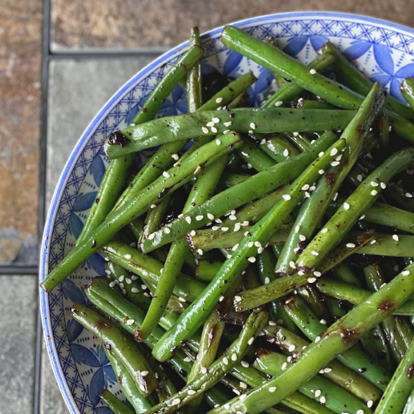 plate of garlic and soy green beans