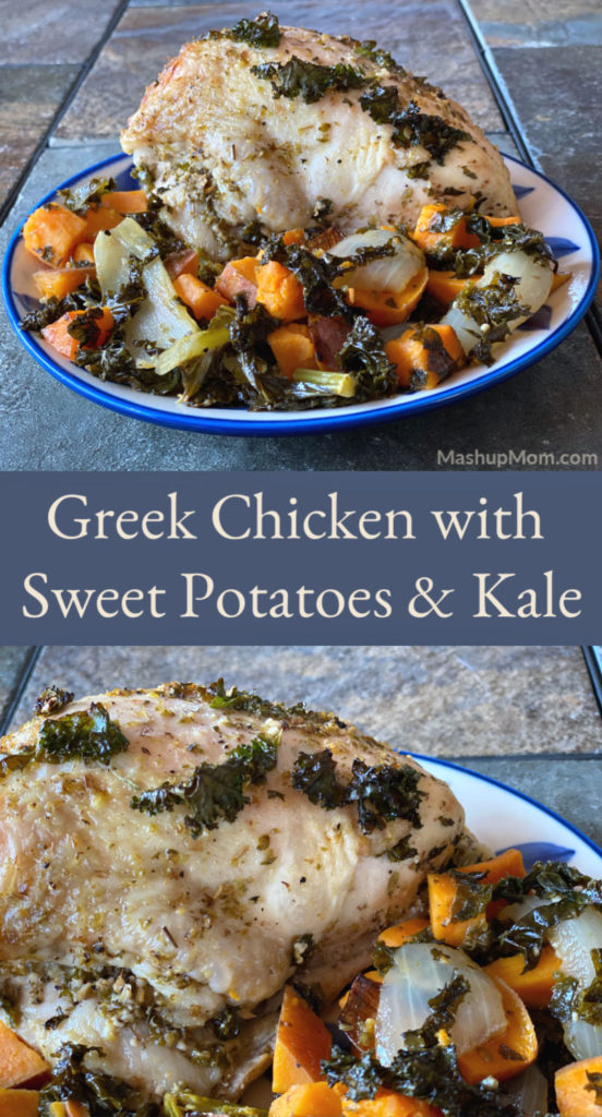 Greek chicken with sweet potatoes and kale is a simple one pan roasted chicken & veggies dinner recipe. The slight bitterness of the kale balances out the sweetness of the potatoes, while garlic, lemon, and oregano bring everything together.