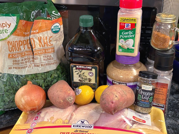 Greek chicken with sweet potatoes and kale ingredients