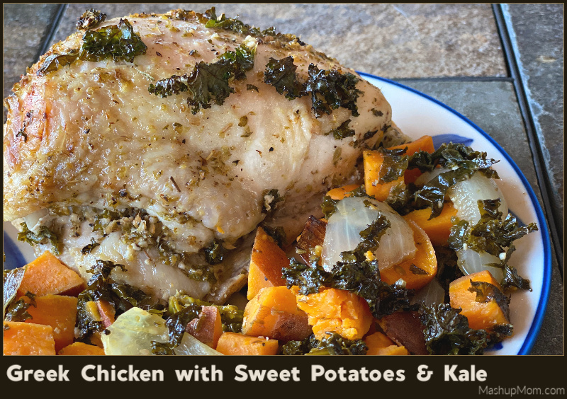 A one pan recipe for Greek chicken with sweet potatoes and kale