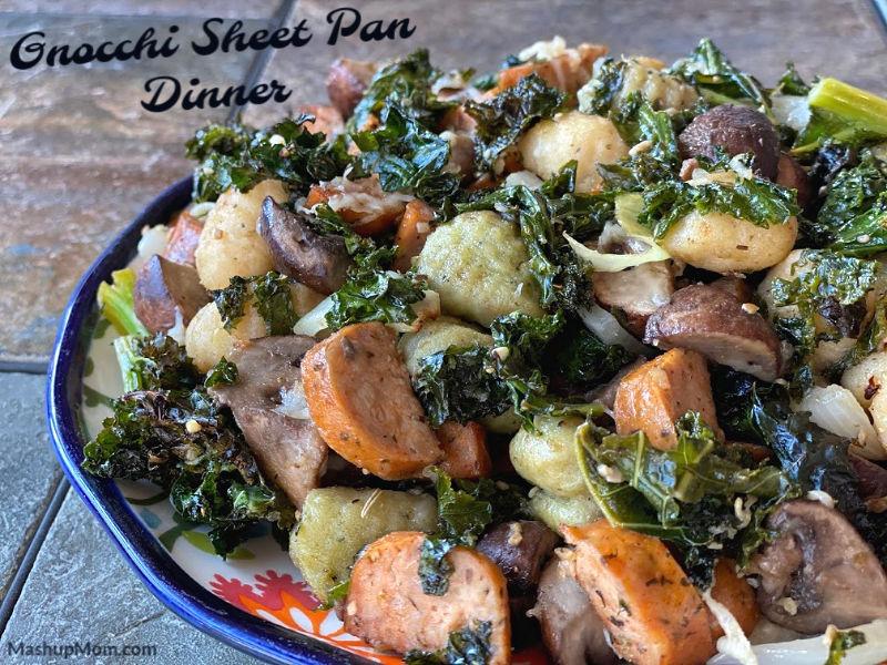 Gnocchi sheet pan dinner with sausage + veggies