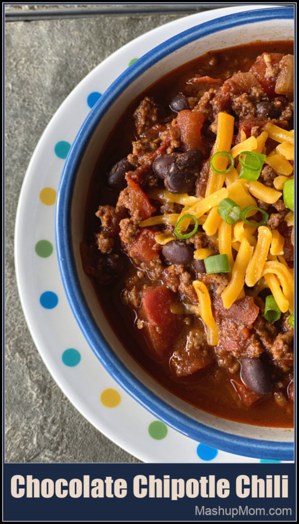 Chocolate Chipotle Chili has a rich depth of flavor, for a different take on your usual chili recipe! Dark chocolate and chipotle peppers flavor this easy 45 minute chili to sweet & spicy perfection.