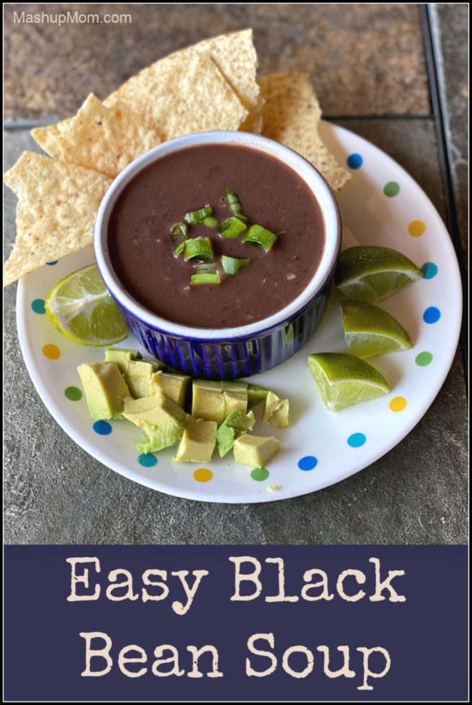 Make this easy black bean soup recipe with (mostly) staples from your pantry: Vegetarian black bean soup is so simple, yet so filling & comforting.