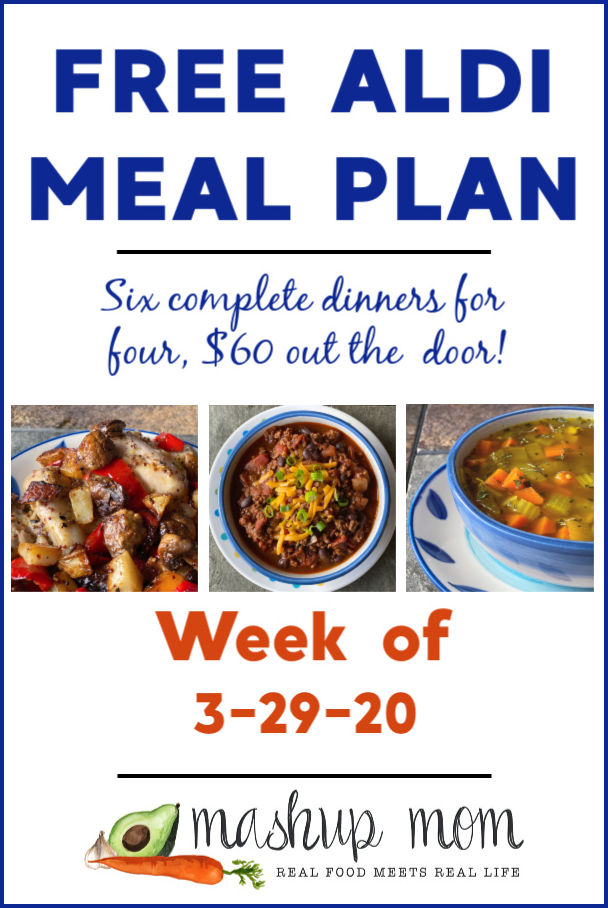 Free ALDI Meal Plan week of 3/29/20 - 4/4/20: Six complete dinners for four, $60 out the door! Save time and money with meal planning, and find new free ALDI meal plans every week.