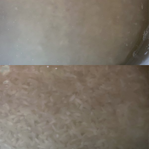 Rinse rice until water is fairly clear