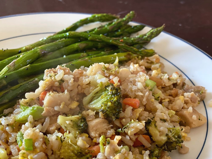 Roasted asparagus with fried rice