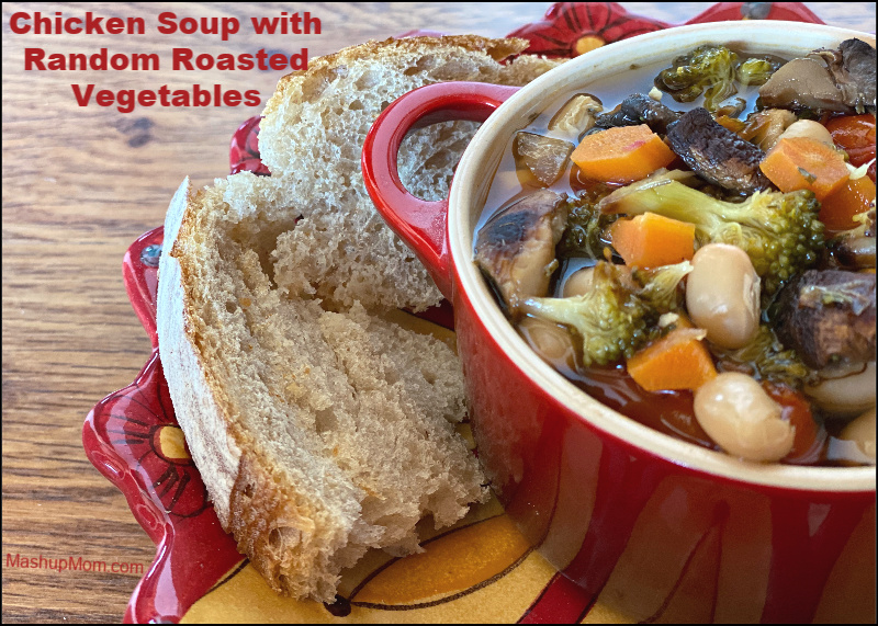 Chicken soup with random roasted vegetables: A savory comfort food recipe