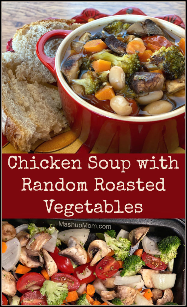 A hearty chicken soup with random roasted vegetables recipe hits the spot on a chilly winter evening. So much flavor, and this chicken vegetable soup is just jam-packed with filling veggies & protein.