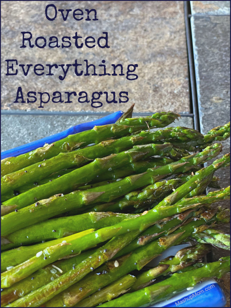 Oven roasted everything asparagus: Roasted asparagus with a little sesame oil + everything bagel seasoning, for the perfect savory flavor combination!