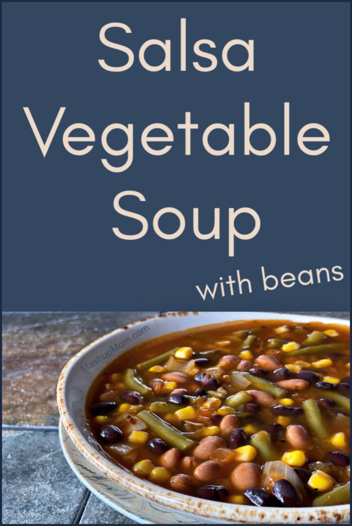Salsa Vegetable Soup With Beans is an easy vegetarian pantry recipe that comes together in just 30 minutes! Full of flavor, this quick pantry basics soup is perfect for Meatless Monday.